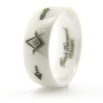 8mm Domed White Ceramic Masonic Ring Compass & Square, Plumb & Trowel