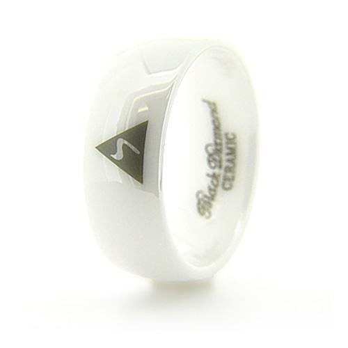 8mm Domed White Ceramic Scottish Rite Ring