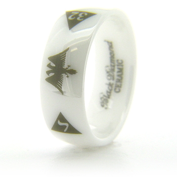8mm Domed White Ceramic Scottish Rite Eagle Ring