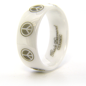8mm Domed White Ceramic Ring with Peace Signs