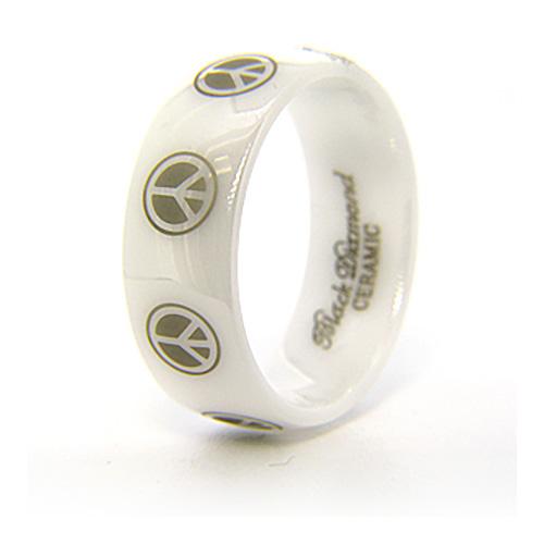 8mm Domed White Ceramic Ring Peace