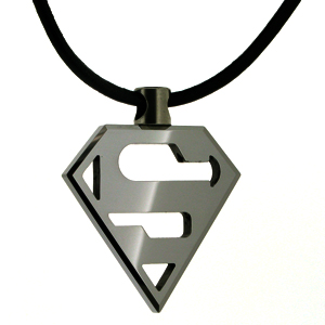 Tungsten 36mm Superman Pendant and 18in Cord