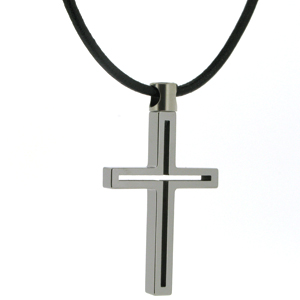 45mm Tungsten Cross Pendant and 18in Cord
