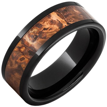 Black Ceramic Ring with Distressed Copper Inlay 8mm