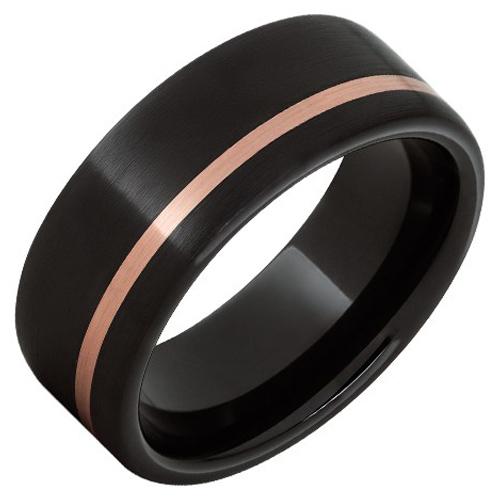Black Ceramic Ring with Offset 14k Rose Gold Inlay 8mm