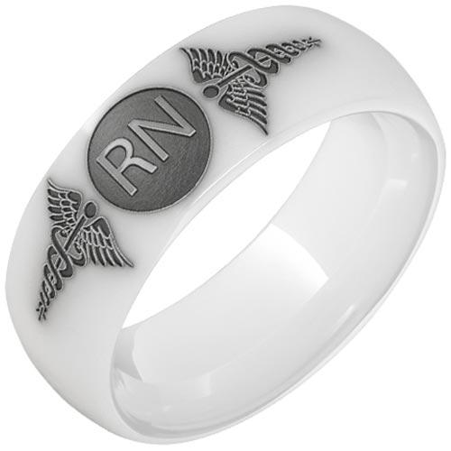 White Ceramic Registered Nurse Ring with Laser Engraved Caduceus 8mm