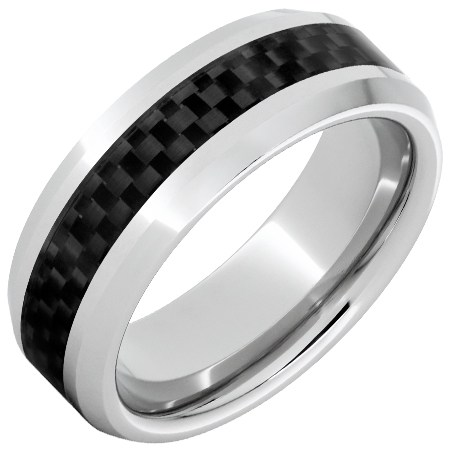 Serinium Ring with Black Carbon Fiber Inlay Beveled Edges 8mm