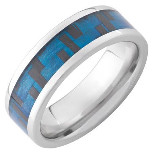 Serinium Ring with Blue Carbon Fiber Inlay 8mm