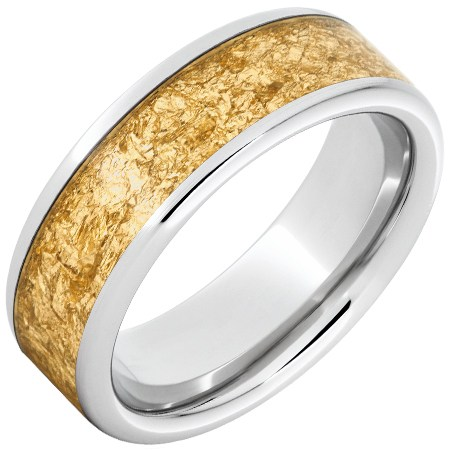 Serinium Ring with 24k Yellow Gold Leaf Inlay 8mm