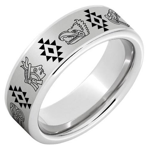 Serinium Ring with Aztec Laser Engraving 8mm
