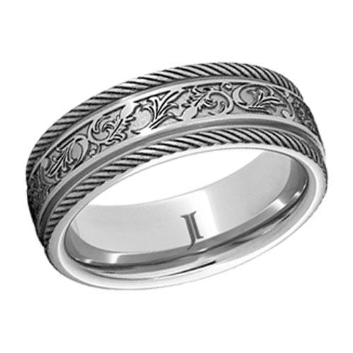 Serinium Ring with Latigo Design and Braided Edges 6mm