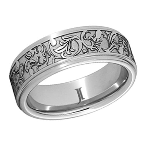 Serinium Ring with Floral Design and Rounded Edges 6mm
