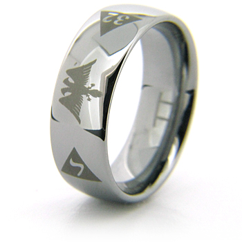 CLEARANCE SIZE 7.5 8mm Domed Tungsten Scottish Rite Eagle Ring