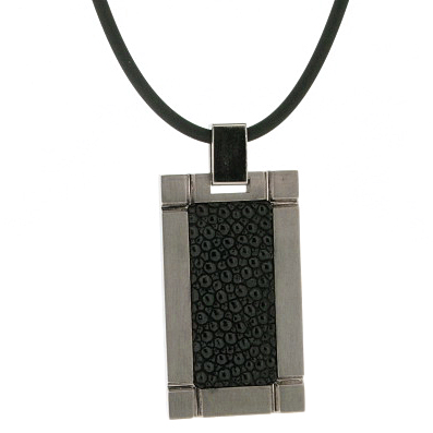 Titanium Pendant with Stingray Inlay