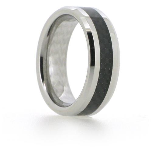 8mm Beveled Vitalium Ring with Carbon Fiber Inlay