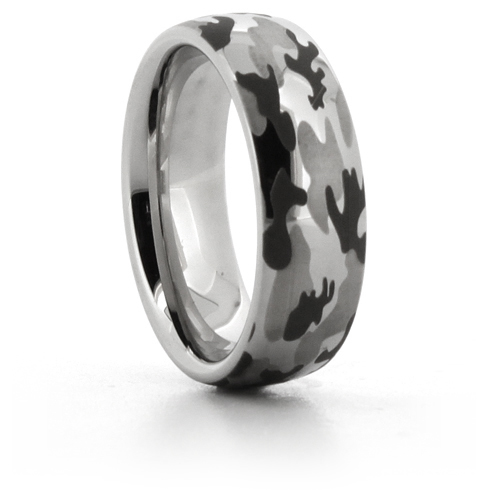 Domed Serinium Ring with Camouflage Finish 8mm