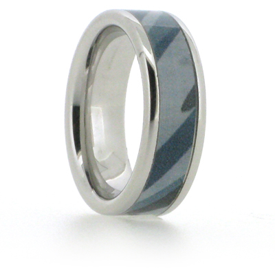 8mm Vitalium Pipe Ring with Blue Camouflage Inlay