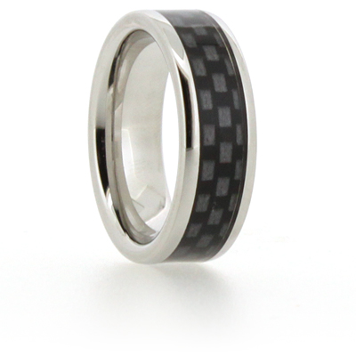8mm Vitalium Pipe Ring with Black Carbon Fiber Inlay