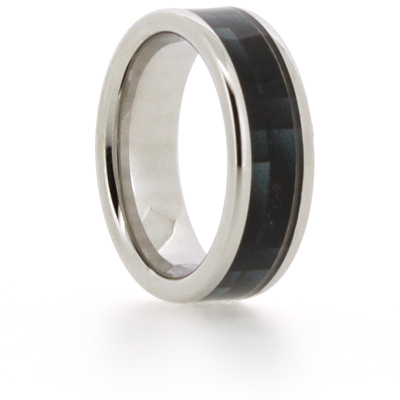 8mm Vitalium Pipe Ring with Blue Carbon Fiber Inlay