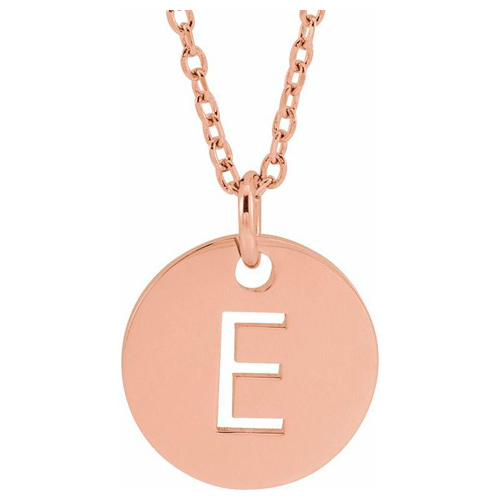 14k Rose Gold Cut-out Initial E Disc Necklace