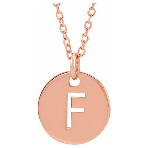 14k Rose Gold Cut-out Initial F Disc Necklace