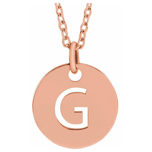 14k Rose Gold Cut-out Initial G Disc Necklace