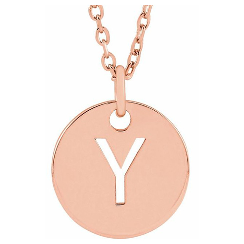 14k Rose Gold Cut-out Initial Y Disc Necklace
