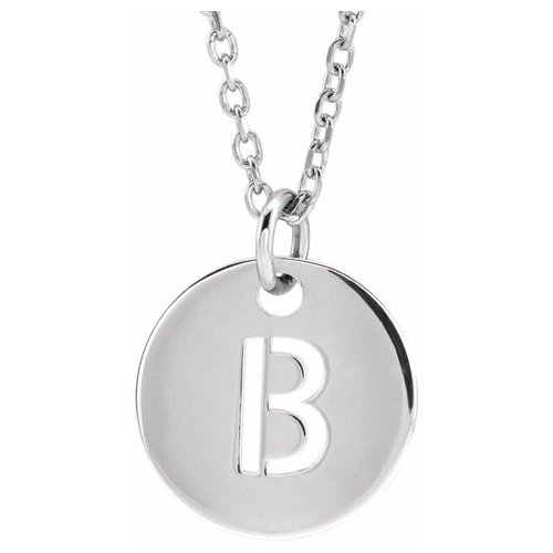 14k White Gold Cut-out Initial B Disc Necklace