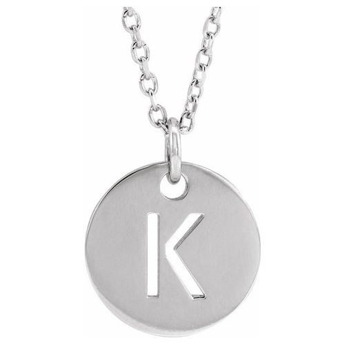 14k White Gold Cut-out Initial K Disc Necklace