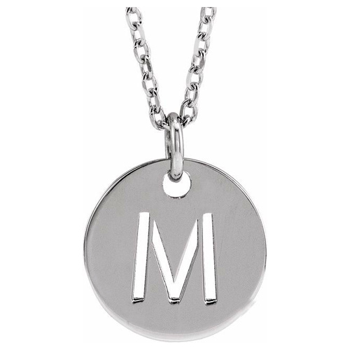14k White Gold Cut-out Initial M Disc Necklace