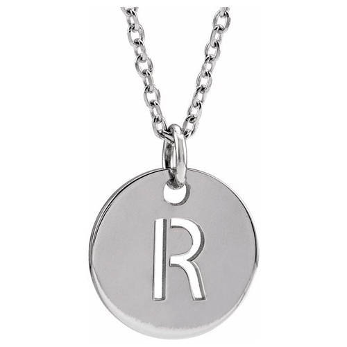 14k White Gold Cut-out Initial R Disc Necklace