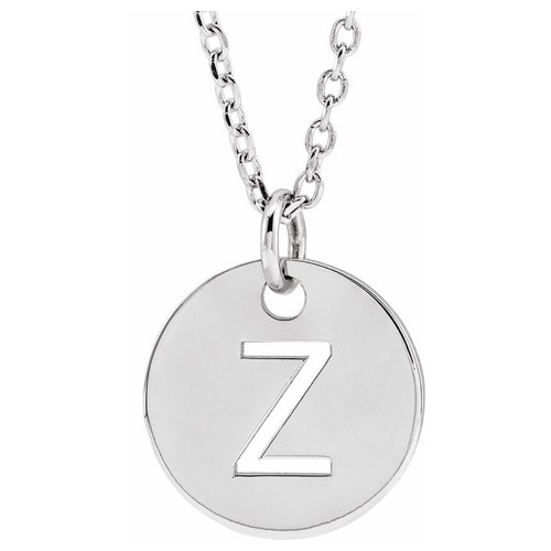 14k White Gold Cut-out Initial Z Disc Necklace