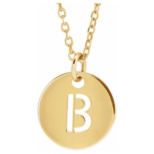 14k Yellow Gold Cut-out Initial B Disc Necklace