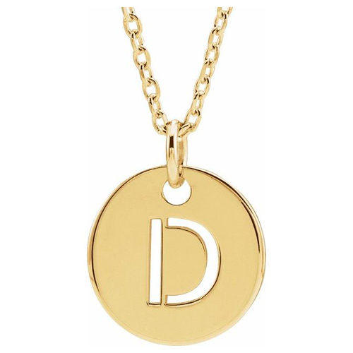 14k Yellow Gold Cut-out Initial D Disc Necklace