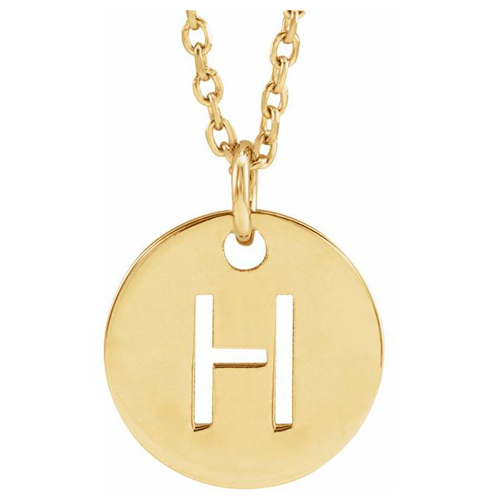 14k Yellow Gold Cut-out Initial H Disc Necklace