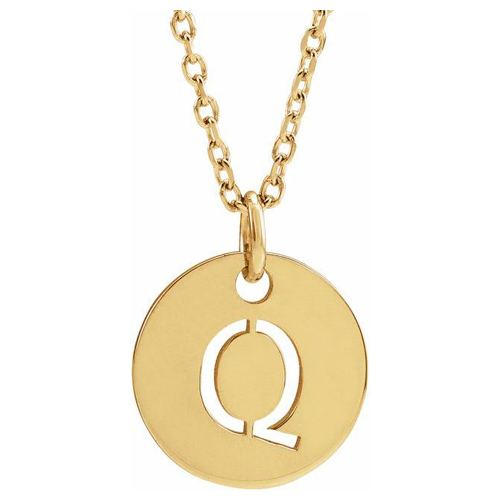 14k Yellow Gold Cut-out Initial Q Disc Necklace