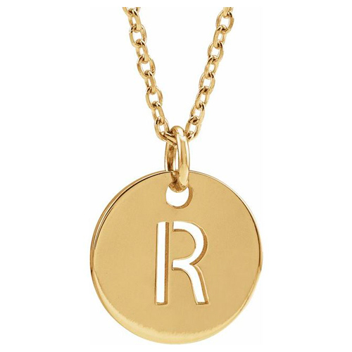 14k Yellow Gold Cut-out Initial R Disc Necklace