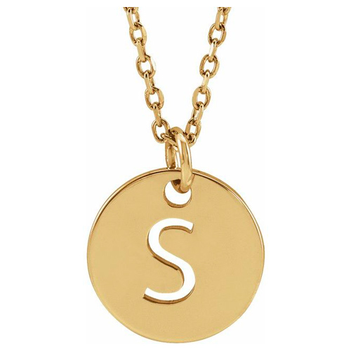 14k Yellow Gold Cut-out Initial S Disc Necklace