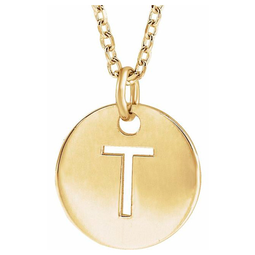14k Yellow Gold Cut-out Initial T Disc Necklace