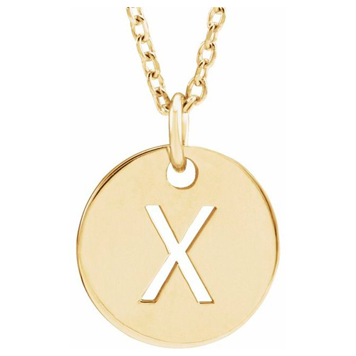 14k Yellow Gold Cut-out Initial X Disc Necklace
