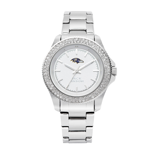 Jack Mason Baltimore Ravens Ladies' Stainless Steel Watch with Swarovski Crystals