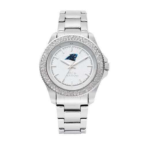 Jack Mason Carolina Panthers Ladies' Stainless Steel Watch with Swarovski Crystals