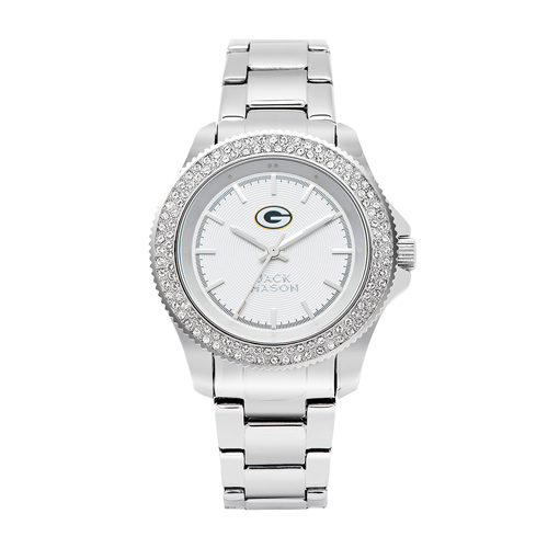 Jack Mason Green Bay Packers Ladies' Stainless Steel Watch with Swarovski Crystals