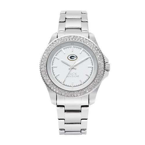 Jack Mason Green Bay Packers Ladies' Steel Swarovski Crystal Watch