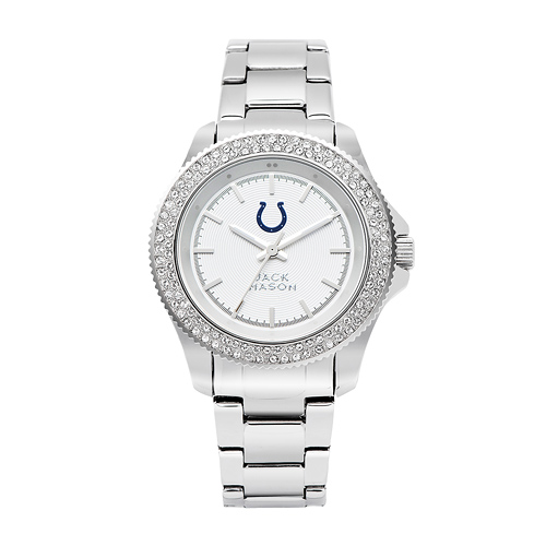 Jack Mason Indianapolis Colts Ladies' Stainless Steel Watch with Swarovski Crystals