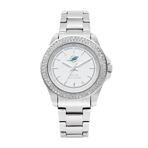 Jack Mason Miami Dolphins Ladies' Stainless Steel Watch with Swarovski Crystals