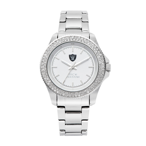 Jack Mason Oakland Raiders Ladies' Stainless Steel Watch with Swarovski Crystals
