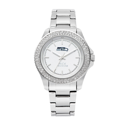 Jack Mason Seattle Seahawks Ladies' Stainless Steel Watch with Swarovski Crystals