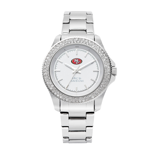 Jack Mason San Francisco 49ers Ladies' Stainless Steel Watch with Swarovski Crystals
