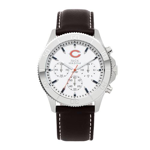 Jack Mason Chicago Bears Leather Chronograph Watch